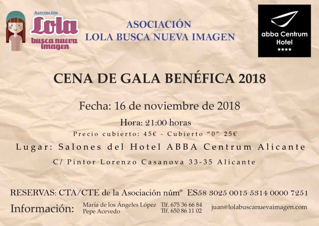 Cena De Gala 2018 Asociación Lola Busca Nueva Imagen